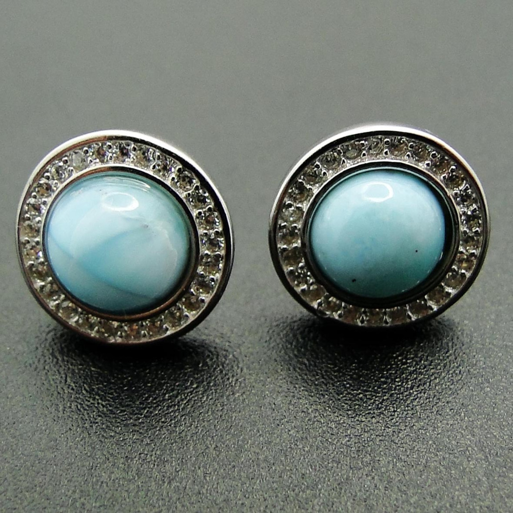 цены Natural Larimar Earring Fine Jewelry Stud Earring with 7mm Round Larimar 100% 925 Sterling Silver Jewelry for Women Nice Gift