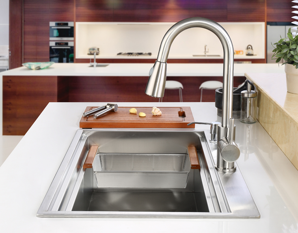 C & C SUS304 acier inoxydable évier de cuisine cuve ensemble avec robinet évier simple évier de cuisine lavage vanité - 2