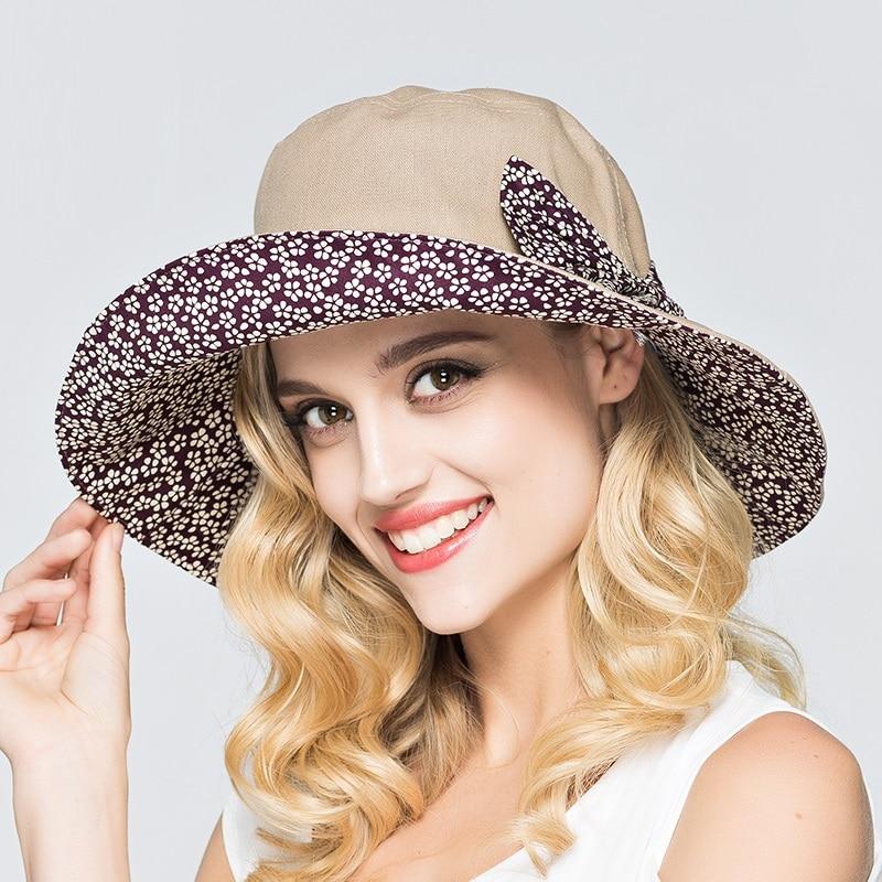 144b6cad8 Summer Women's Beach Sun Hats Anti-UV Elegant Ladies Fashion Sunhats Female  Cotton Caps Wide Birm Vacation Panama Caps B-7391