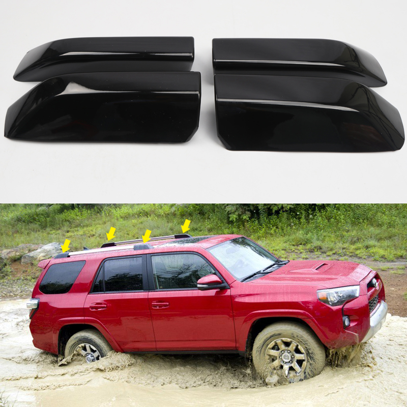 For Toyota <font><b>4Runner</b></font> N280 <font><b>2010</b></font> - 2018 ABS Plastic Car Roof Top Mounted Rack Bar End Protection Cover Shell Replacement 4 Pieces image