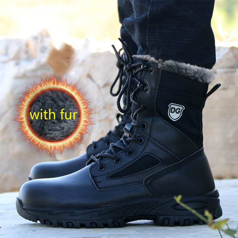 67d3ef125bb US $47.5 50% OFF|mens big size steel toe cap working safety warm cotton  padded shoes platform winter snow fur tooling security military boots  man-in ...