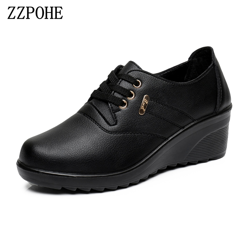 ZZPOHE Spring Autumn Fashion Women's Pumps Shoes Woman Leather Wedges High Heels Shoes Lady Casual Comfortable Shoes