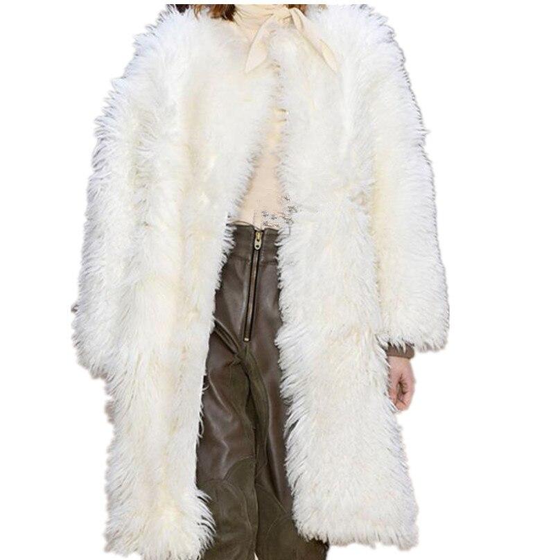 Survêtement Fausse Femme O Longs Chaud Manteaux Col En Faux Manteau Haute Fourrure Qualité De Beige qXABaOx