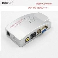 DOITOP Máy Tính Xách Tay PC VGA để TV AV RCA Composite Video Adapter Chuyển Đổi Chuyển Box Hỗ Trợ S-video NTSC/PAL VGA TO VIDEO chuyển đổi