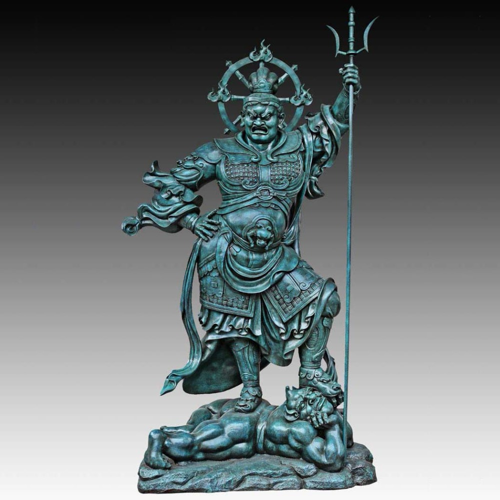 Large Bronze Sculpture Garden Decor Statue  Buddhist Statues Sword Heavenly King Decorations