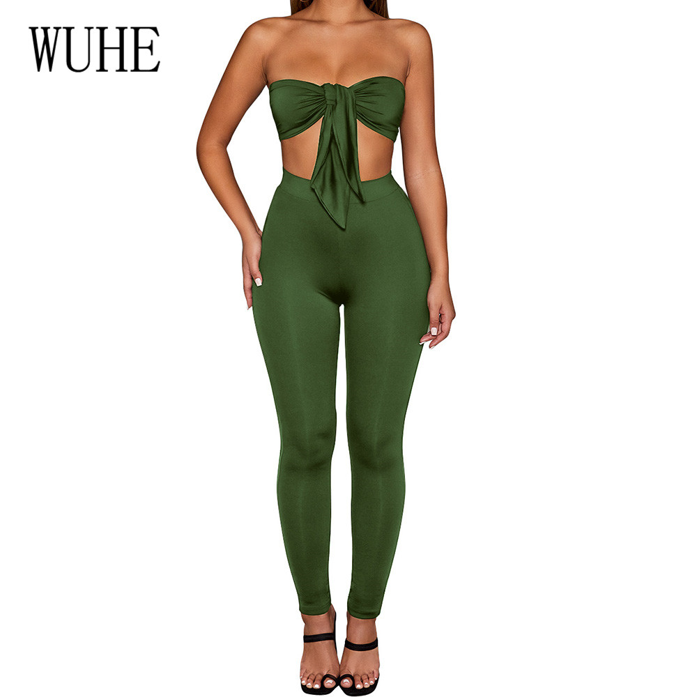 WUHE Women 39 s Wrapped Chest Strap Cup Cover Two Pieces Sets Jumpsuits Sexy Off Shoulder Sleeveless Bodycon Bandage Playsuits in Jumpsuits from Women 39 s Clothing