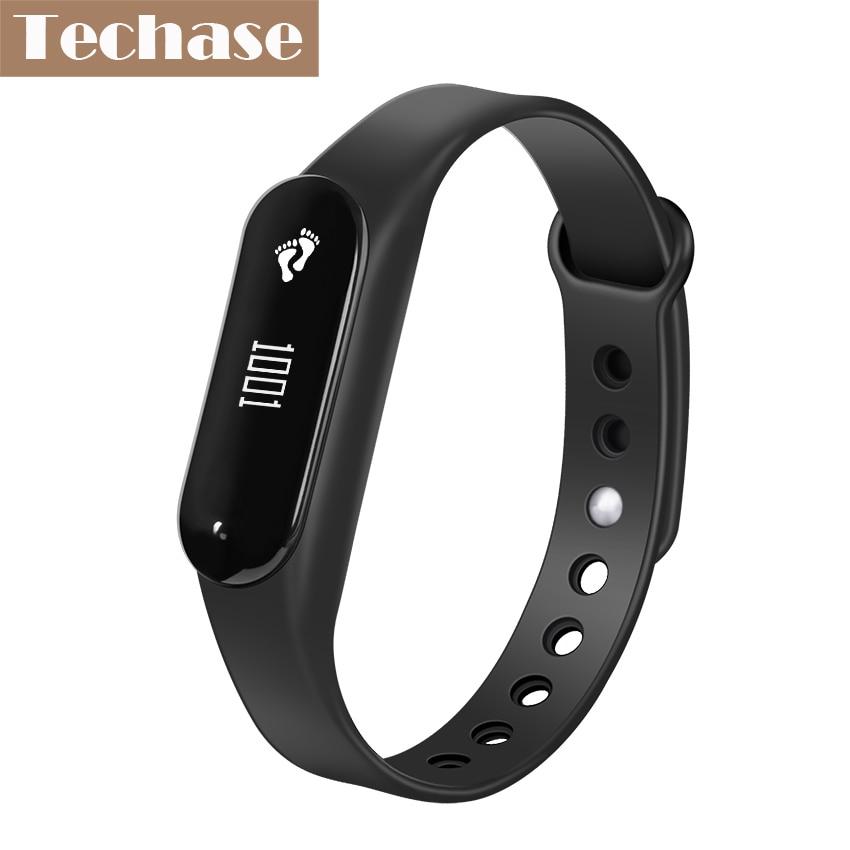 Techase Heart Rate Monitor Bluetooth Mi Band Fitness Tracker Sports Cicret Bracelet Smartband Pedometer Pulsera Actividad