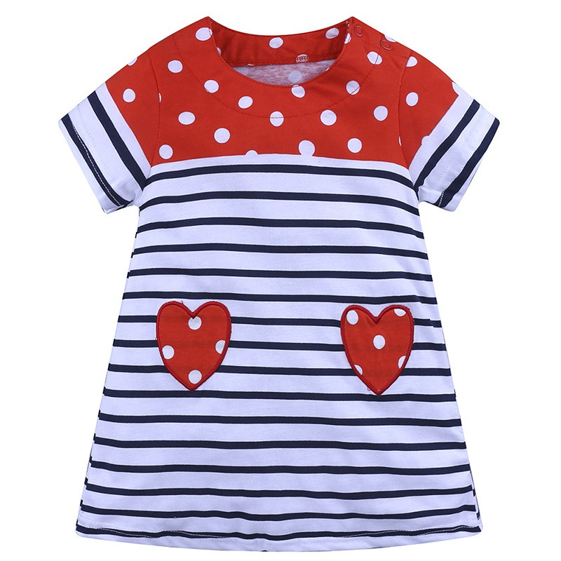 Baby Girl Dress With Love Pattern And Short Sleeve Comfortable For Kids Dressing In Different Places