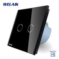 WELAIK Crystal Glass Panel Switch Black Wall Switch EU Touch Switch Screen Wall Light Switch 2gang2way