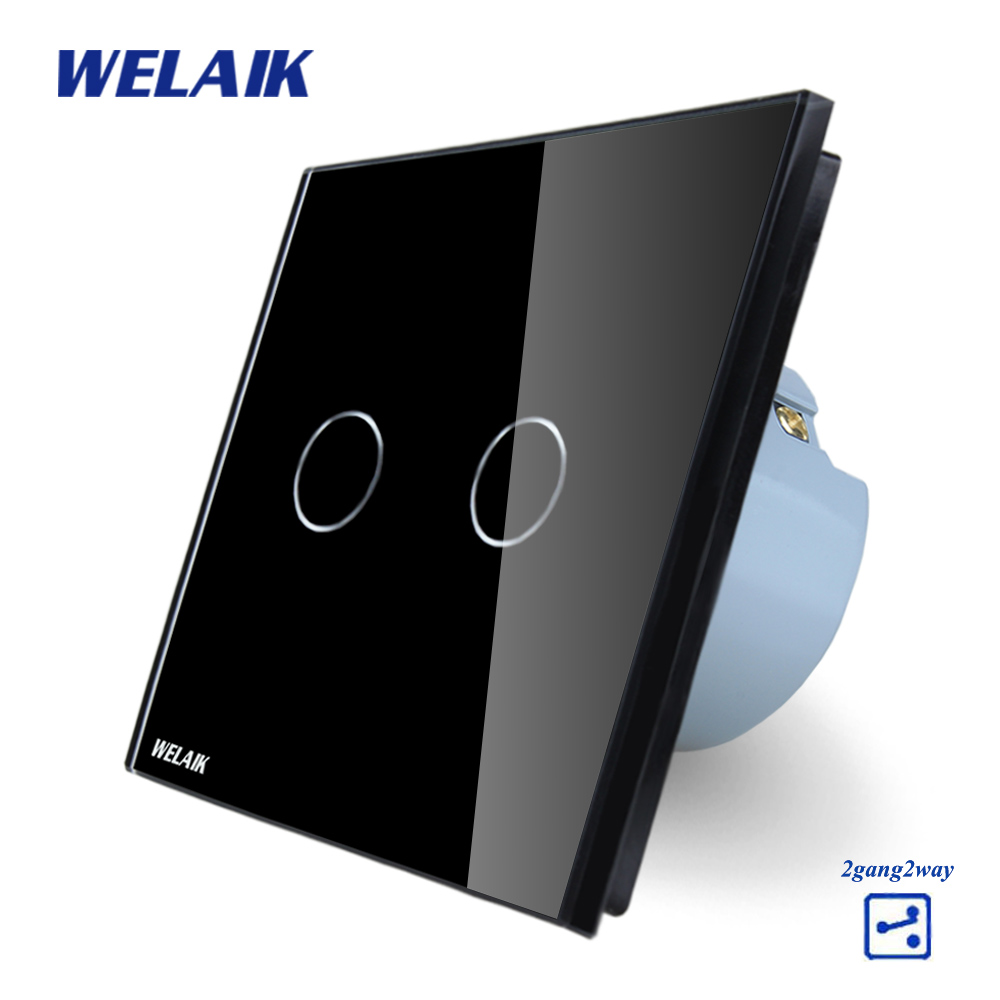 WELAIK Crystal Glass Panel Switch black Wall Switch EU Touch Switch Screen Wall Light Switch 2gang2way AC110~250V A1922CB smart home eu touch switch wireless remote control wall touch switch 3 gang 1 way white crystal glass panel waterproof power