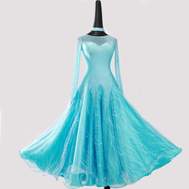 Blue Ballroom Dress Standard Dance Dress For Dancing Stitching Waltz Dress Fringe Rumba Dance Costume Tango Dance Wear Black
