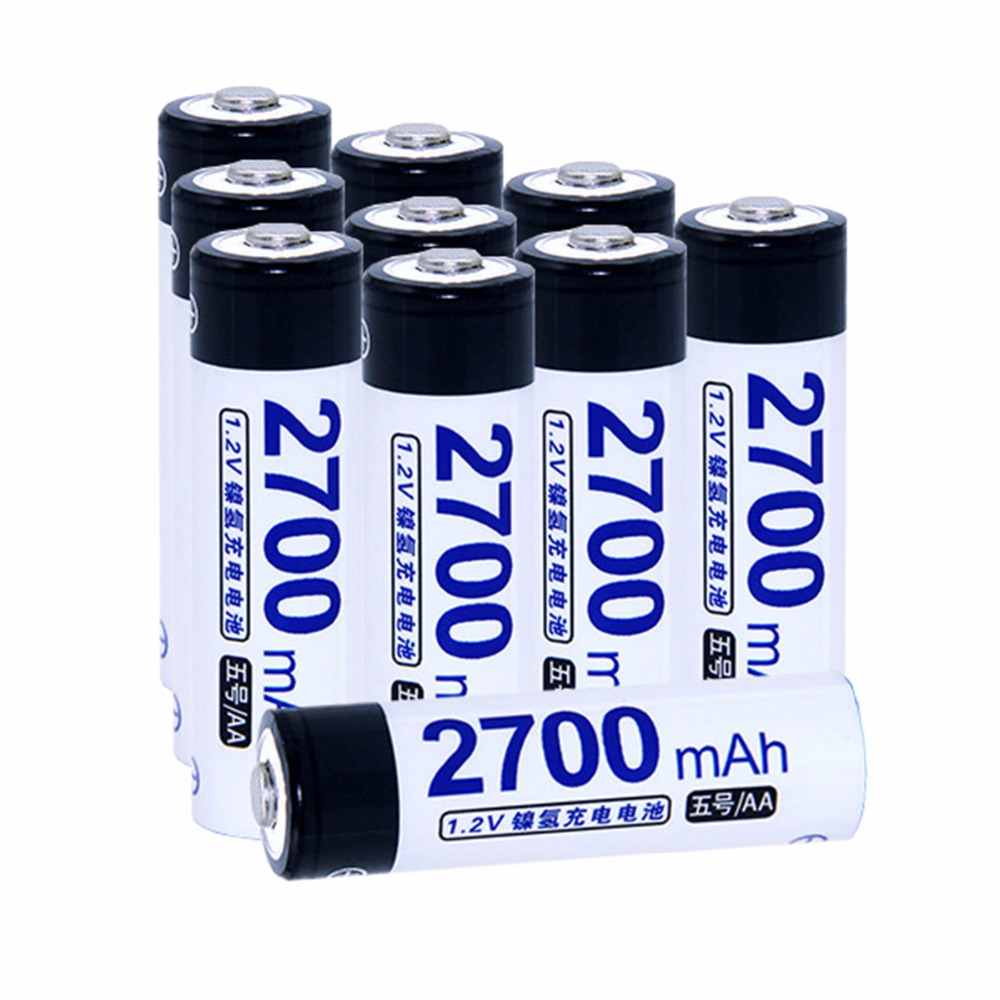 True capacity! 10 pcs AA 1.2V NIMH AA rechargeable batteries 2700mah for camera razor toy remote control flashlight 2A batterie