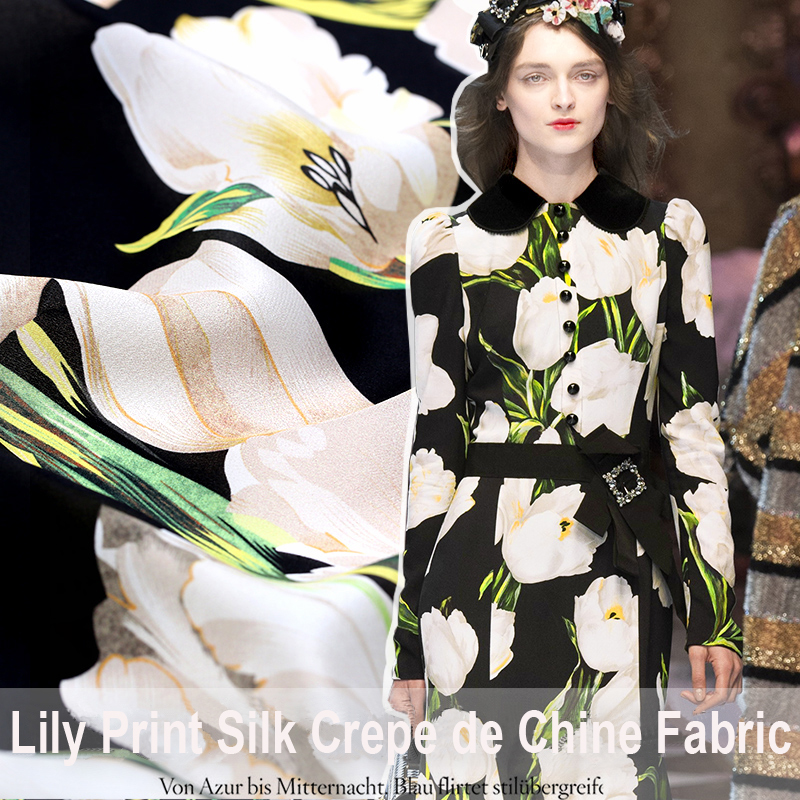 9709147cc6c5 110CM Wide 16MM White Lily Print Black Silk Crepe De Chine Fabric for  Summer Dress Shirt E301-in Fabric from Home   Garden on Aliexpress.com