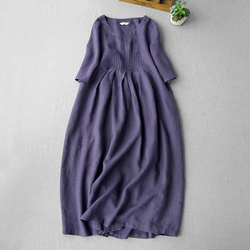 Kadın Giyim'ten Elbiseler'de Yaz Kadın Rahat Kısa Gevşek Yarım Kollu Mori Kız Japon Tarzı Rahat Su Yıkanmış Keten Elbiseler 4 Renk'da  Grup 1