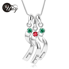 UNY 925 Sterling Silver Special Customized Engrave Rhodium Plated Family Anniversary Sentimental Gift Birthstone CZ Necklace