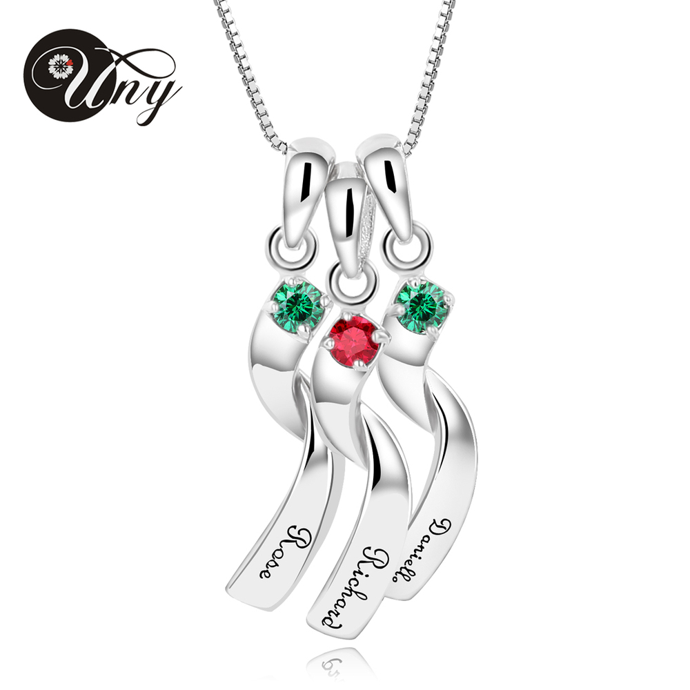UNY Necklaces Pendants 925 Sterling Silver Special Necklace Pendant Customized Engrave Pendants Rhodium Plated Pendants Necklace 925 silver plated flower necklace