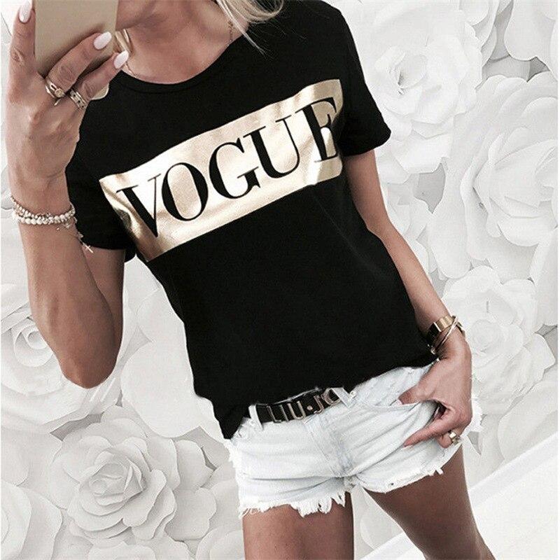 Women's VOGUE Print T-shirt 2019 Ladies Letter Top Summer Short Sleeve Fashion O-neck TShirt Cotton T-Shirt Women's T Shirt