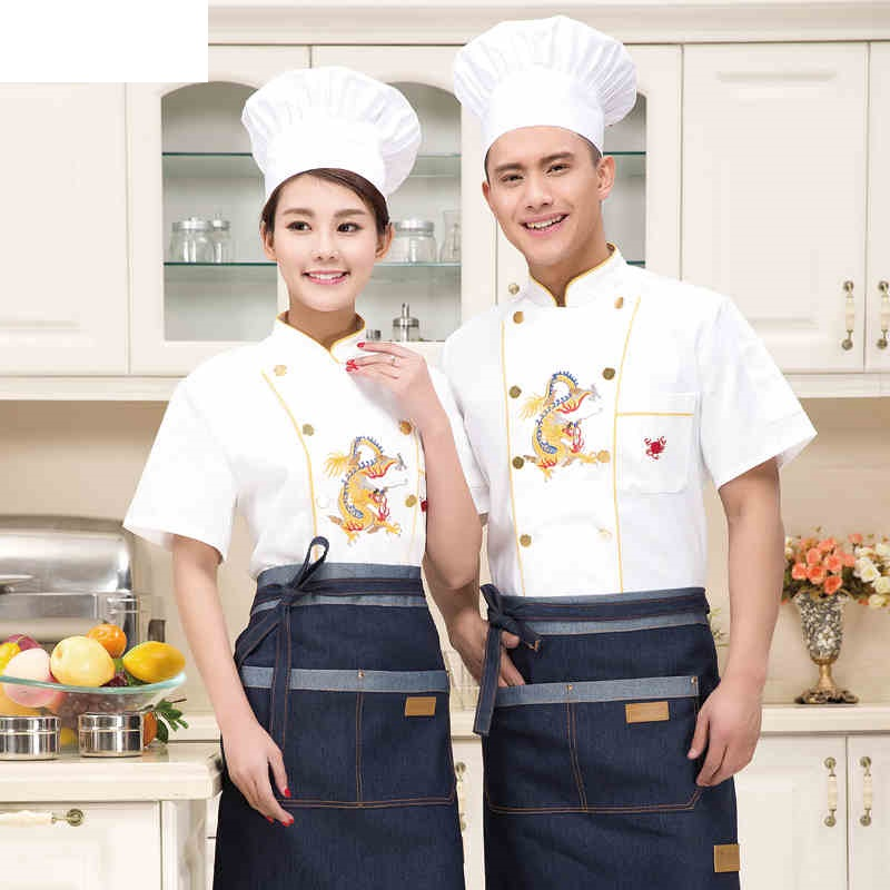 (10 Sets-Hat&Shirt&Apron) New Design Chef Jacket Chinese Style White Food Service Restaurant Uniform Hotel Kitchen Cook Clothes