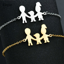 Eleple Stainless Steel Cartoon Figure Bracelet Parents Son Family Series Simple Vacation Gifts Jewelry Manufacturer S-B245