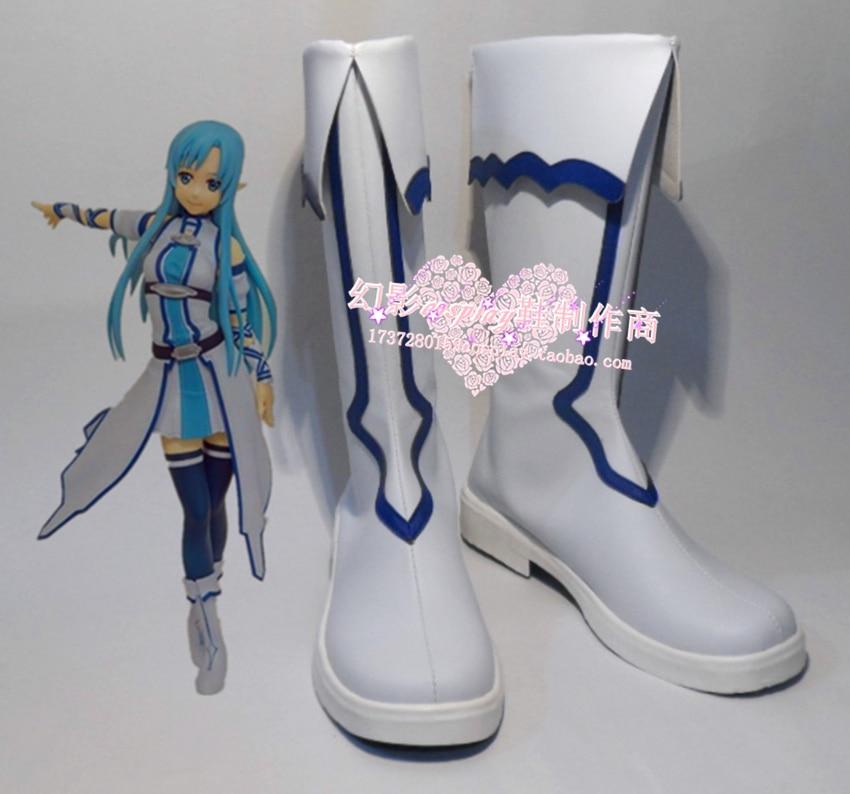 Меч Книги по искусству интернет Юки Асуна Хэллоуин белый обувь для вечеринок Сапоги и ботинки для девочек H016