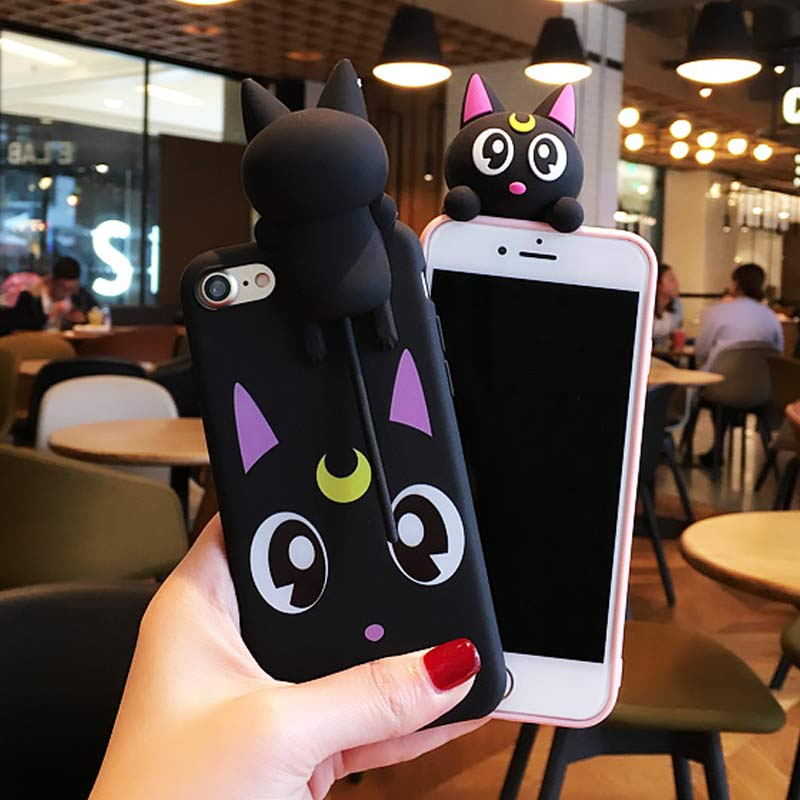 Korea Cute Cartoon Sailor Moon Lovely Luna Cat Silicone Case cover For iPhone 7 7 Plus 6 6S 6 Plus Soft Case Head Sound in Pinch