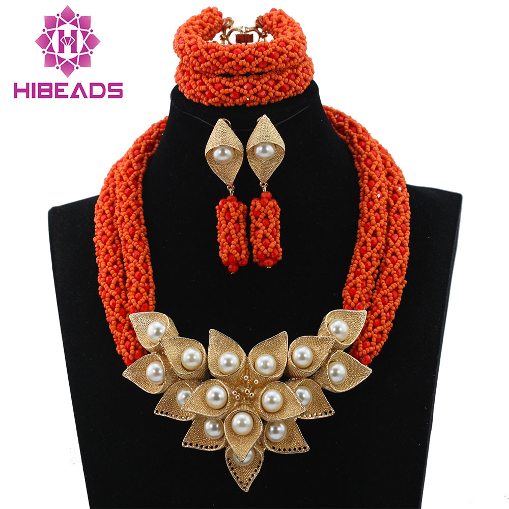 Beat Selling Gift Nigerian Wedding 2 Layers Orange Crystal Beads Jewelry Set African Costume Bridal Necklace Gold Flowers ALJ773