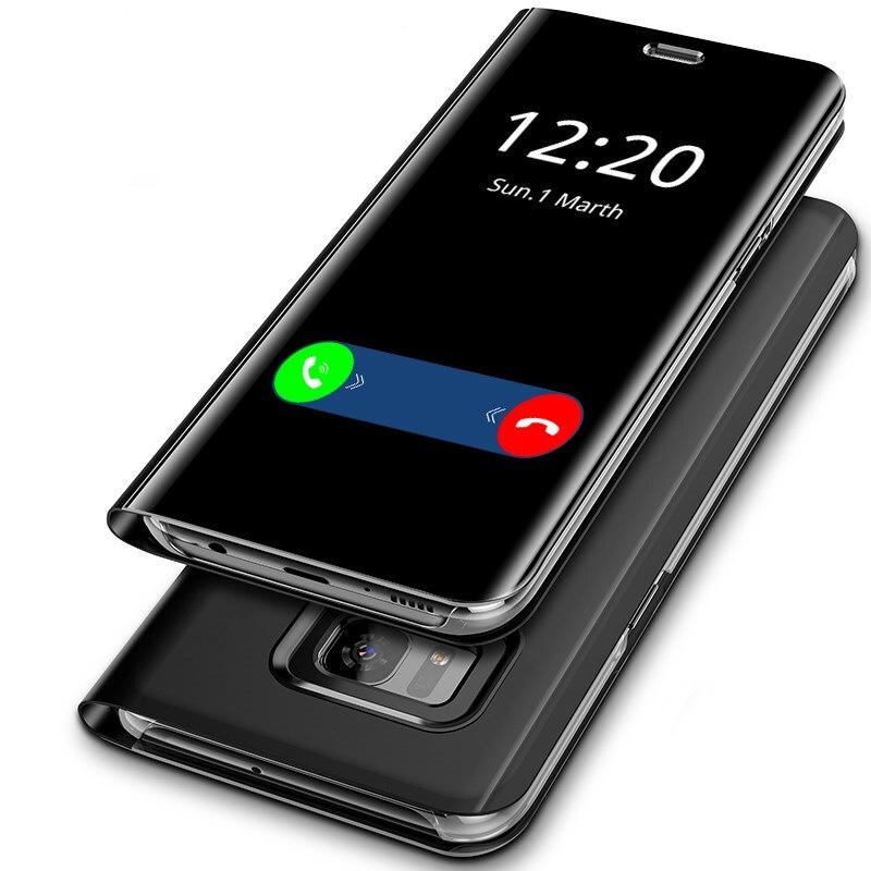 Зеркальный чехол для samsung Galaxy S8, откидная крышка, оригинальный зеркальный смарт чип внутри для samsung S8 Plus Note 8 S9 S9 plus, чехол для телефона