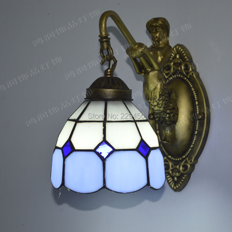 Stained Glass Wall Lamp Shades : Tiffany Wall Lamp Mediterranean Sea Stained Glass Mermaid Wall Sconce Mirror E27 110 240V-in ...