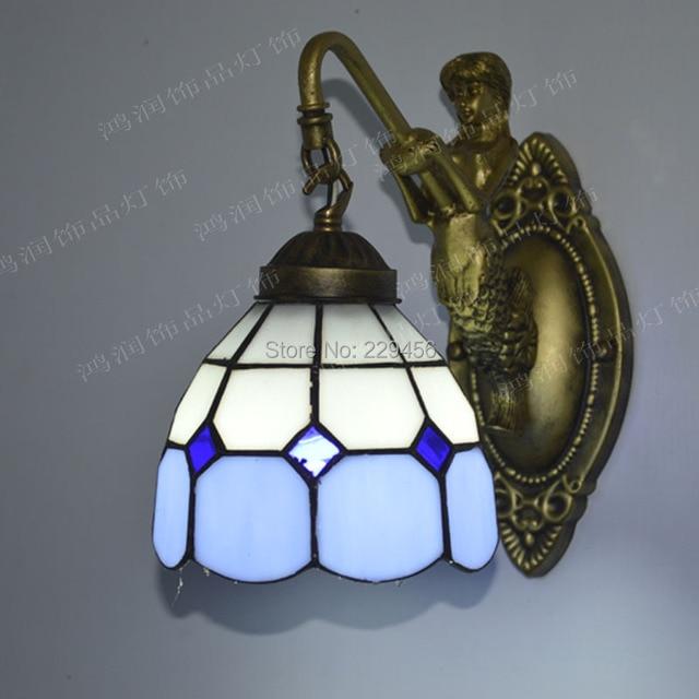 Tiffany Wall Lamp Mediterranean Sea Stained Gl Mermaid Sconces Mirror Bathroom Bedroom Fixtures E27 110