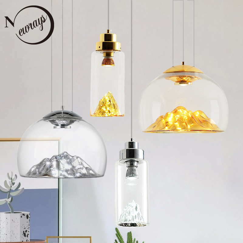 Art deco novelty glass mountain pendant light LED modern loft home deco hanging lamp for bedroom lobby living room restaurant