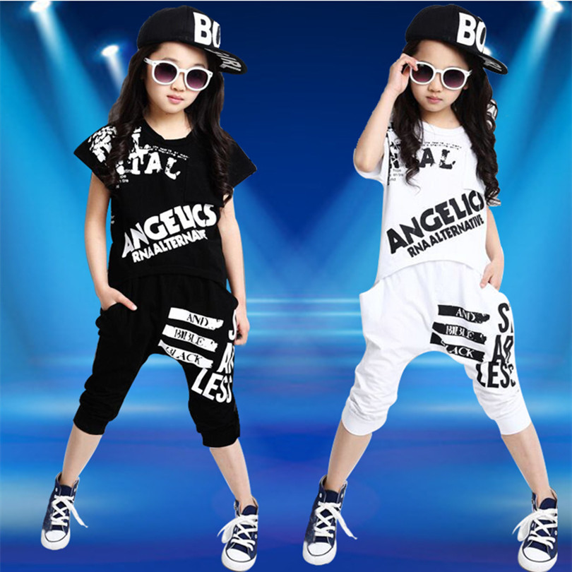 NEW Arrive 2018 Summer Children Clothing Girls Set Hip Hop Style Clothing Fashion Short Sleeve T-Shirt + Harlan Pants Kid free shipping 2016 summer new arrive letter fashion children boy clothing set 100% cotton short sleeve casual clothes set