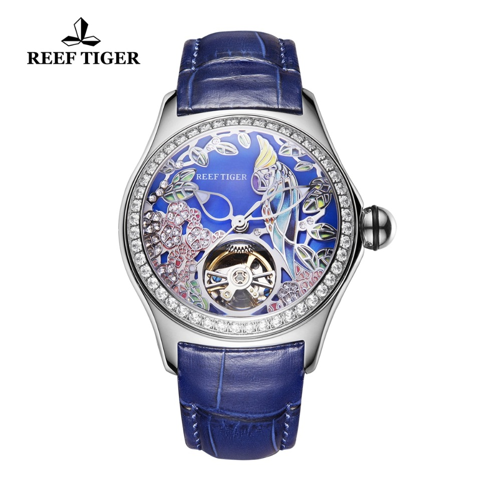 Reef Tiger Top Brand Luxury Women Watches Blue Dial Steel Sport Watches Diamond Analog Mechanical Watches RGA7105