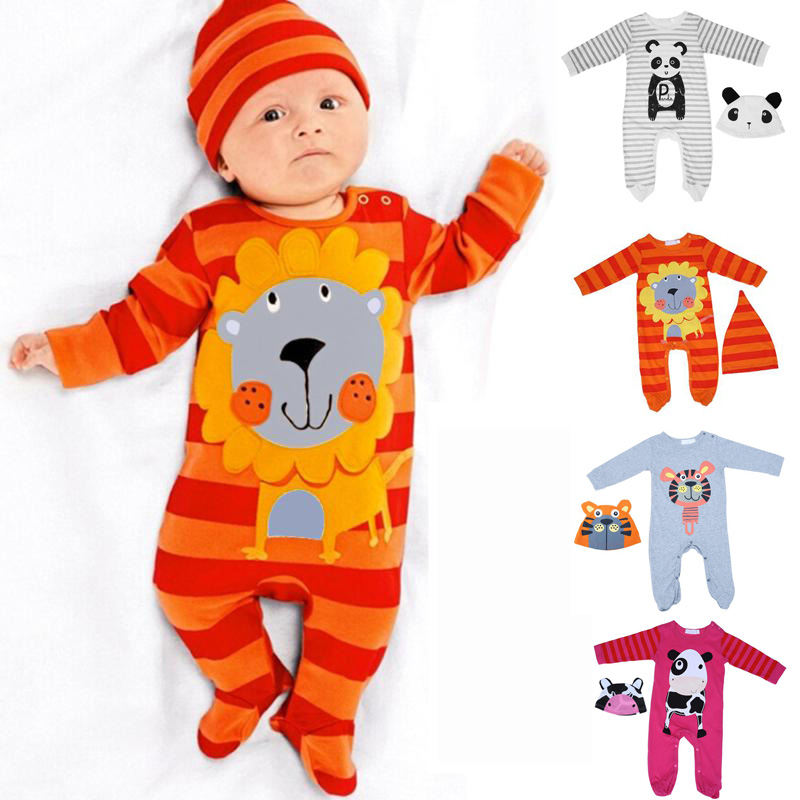 2pcs/set baby boy girl clothes Newborn Cartoon lion/tiger/panda/cow   Romper  +Cap Baby Boys Girls Clothing Set winter coveralls