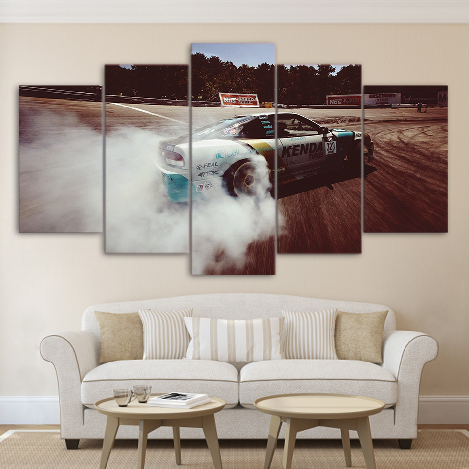 Modular Canvas Pictures Home Decor Wall Art Framed 5 Pieces Sports Car Drift Painting For Living Room HD Printed Poster PENGDA