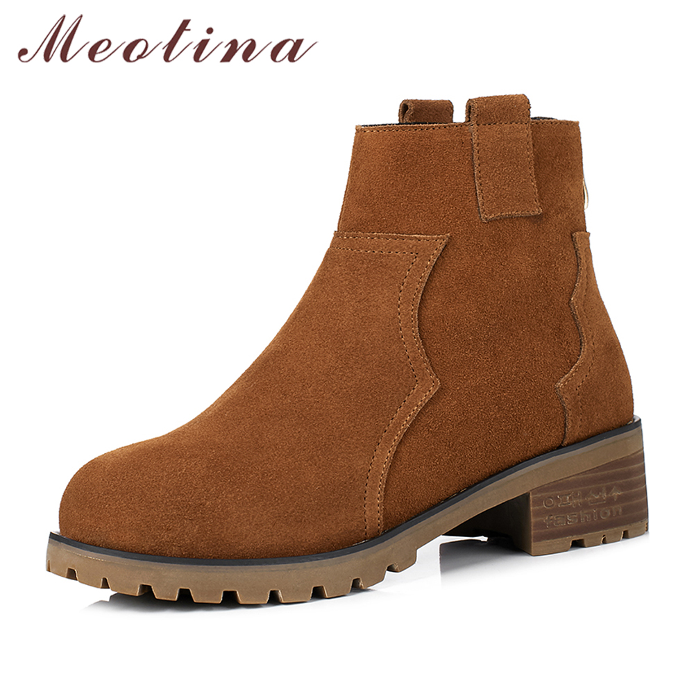 Meotina Genuine Leather Shoes Women Ankle Boots Winter Cow Suede Thick Heel Chelsea Boots Size 34-40 Autumn Shoes Brown Black цены онлайн