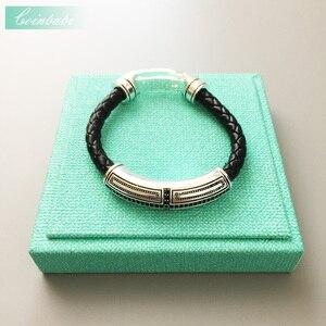 Кожаный браслет черный CZ циркония крест острые серебро-пластина для Для мужчин Мода панк вечерние подарок thomas sabor Стиль Новая мода