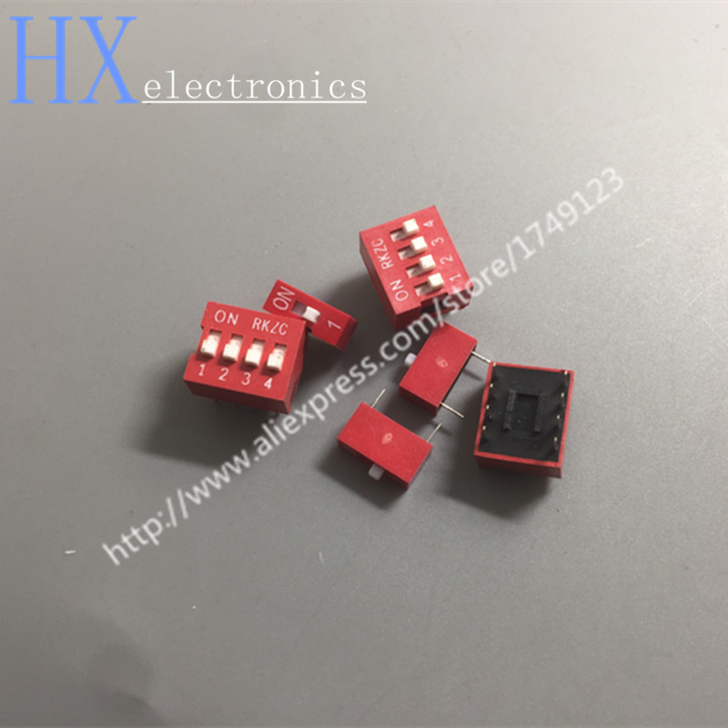 Free shipping 10PCS DIP switch Red 2.54mm Pitch 2 Row DIP Toggle switches 1p 2p 3p 4p 5p 6p 8p 9p 10p цена