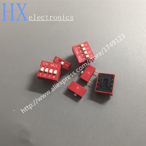 Free shipping 10PCS DIP switch Red 2.54mm Pitch 2 Row DIP Toggle switches 1p 2p 3p 4p 5p 6p 8p 9p 10p(China)