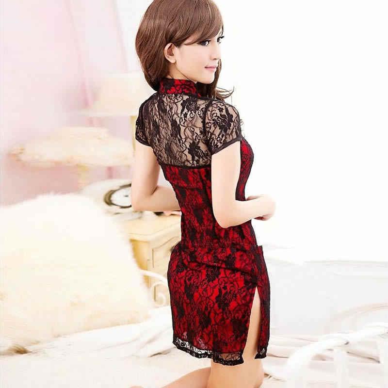 0ead42b05 ... Sexy Mini Qipao Dress Short Package Babydoll Underwear Lace Cheongsam  Transparent Lingerie Girl Summer Erotic Costumes ...