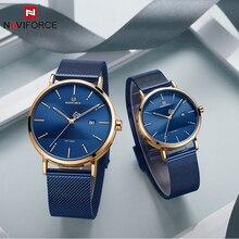Роскошные NAVIFORCE часы для влюбленных для мужчин и женщин, простые повседневные кварцевые наручные часы, водонепроницаемые часы для пары, подарок