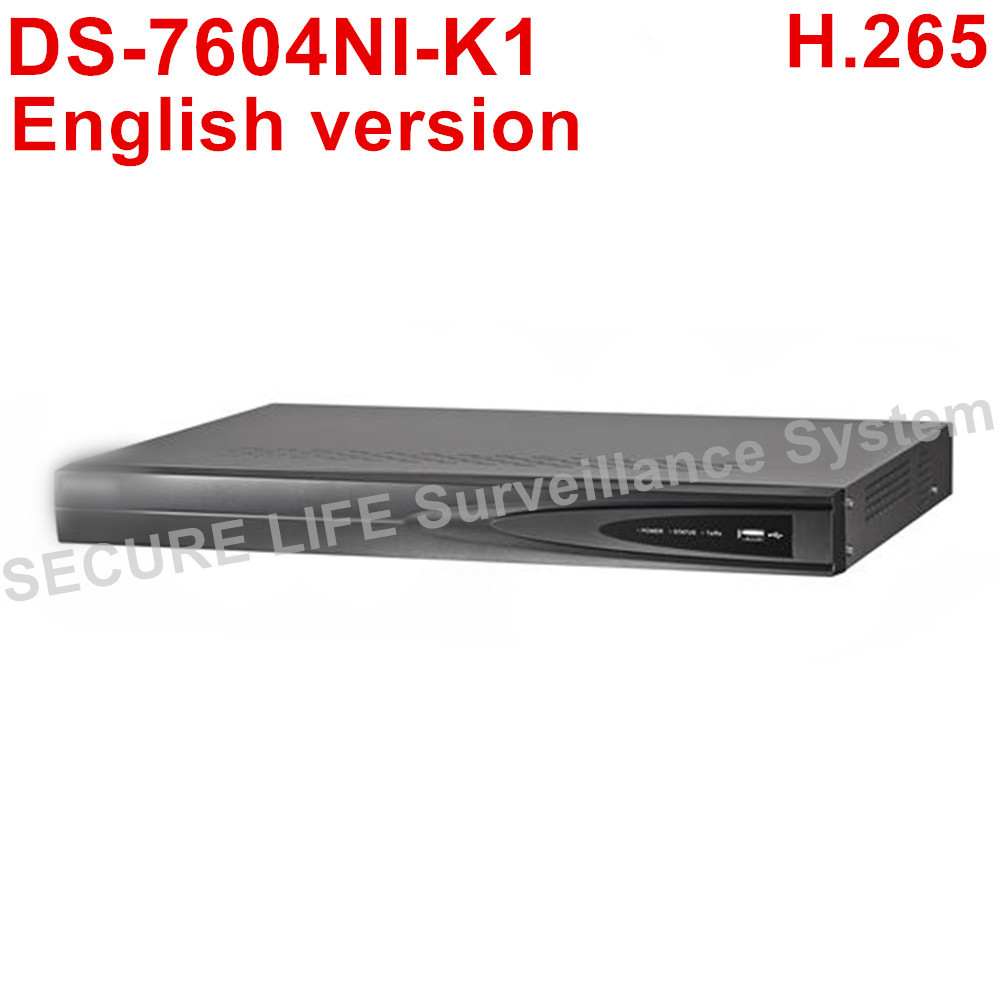 Free shipping English version DS-7604NI-K1 NVR 4ch 1SATA port,  H.265 Embedded Plug & Play 4K NVR POE up to 8MP