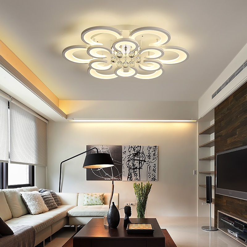 680/800mm Acrylic Crystal Modern Led Ceiling Lights For Living Room Study Room White Finish Round Ceiling Lamp 85-265V