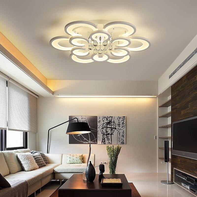 680/800mm Acrylique Cristal Moderne LED Plafond Lumières Pour Salon Salle D'étude Blanc Finition Ronde Plafond Lampe 85-265 v