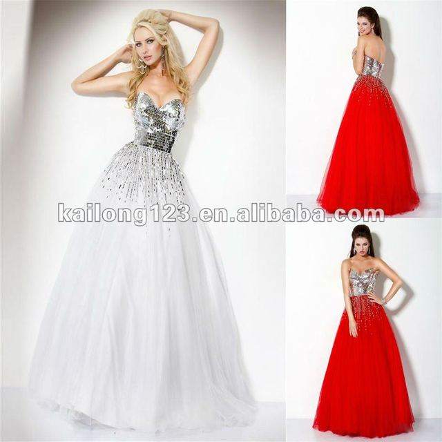 Stylish Sweetheart Ball Gown Long Floor-length Red White Beaded Sequins  Tulle Evening Gowns Online 317a2fee0