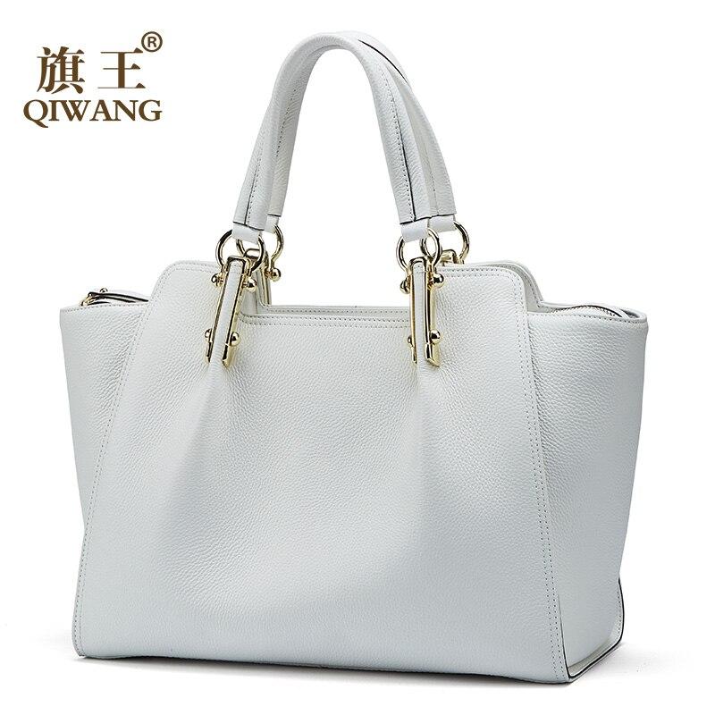 Blanc femmes sacs à main Qiwang femme grand fourre-tout en cuir véritable élégant épaule noir sac à main bureau dame Top-poignée sacs à main