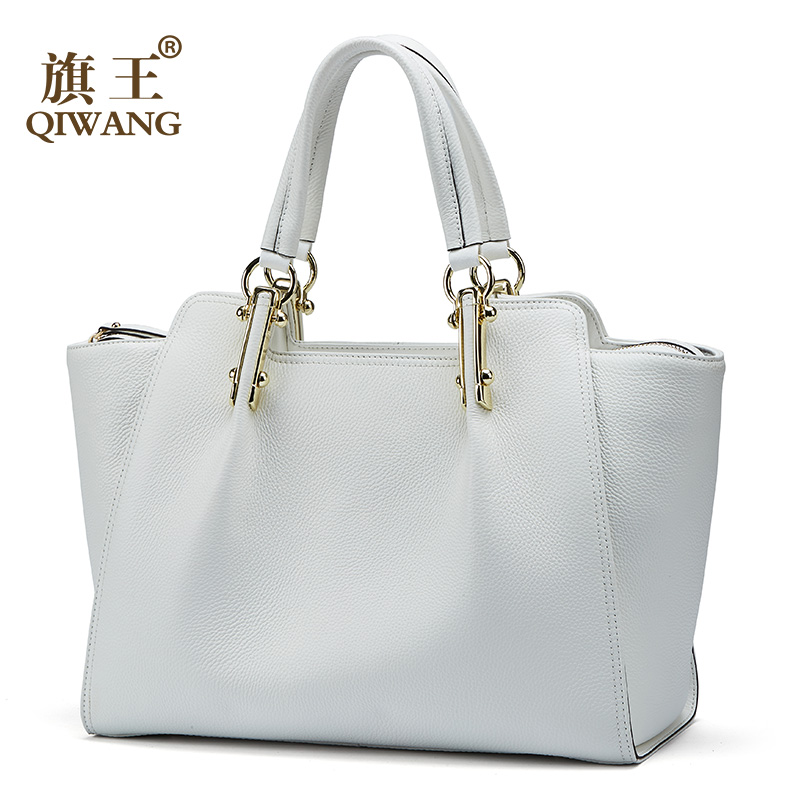 White Women Handbags Qiwang Female Large Tote Genuine Leather Elegant Shoulder Black Handbag Office Lady Top-handle Hand Bags