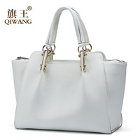 White Women Handbags Qiwang Female Large Tote Genuine Leather Elegant Shoulder Black Handbag Office Lady Top handle Hand Bags