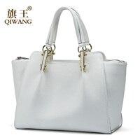 White Women Handbags Qiwang Female Large Tote Genuine Leather Elegant Shoulder Black Handbag Office Lady Top handle Hand Bags