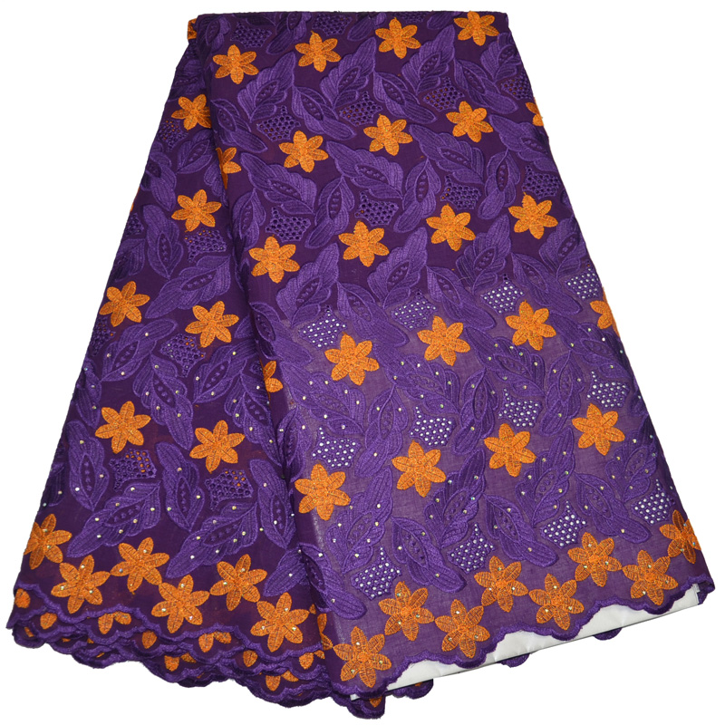 5yards pc wonderful purple and orange embroidered African cotton lace fabric Swiss lace fabric for