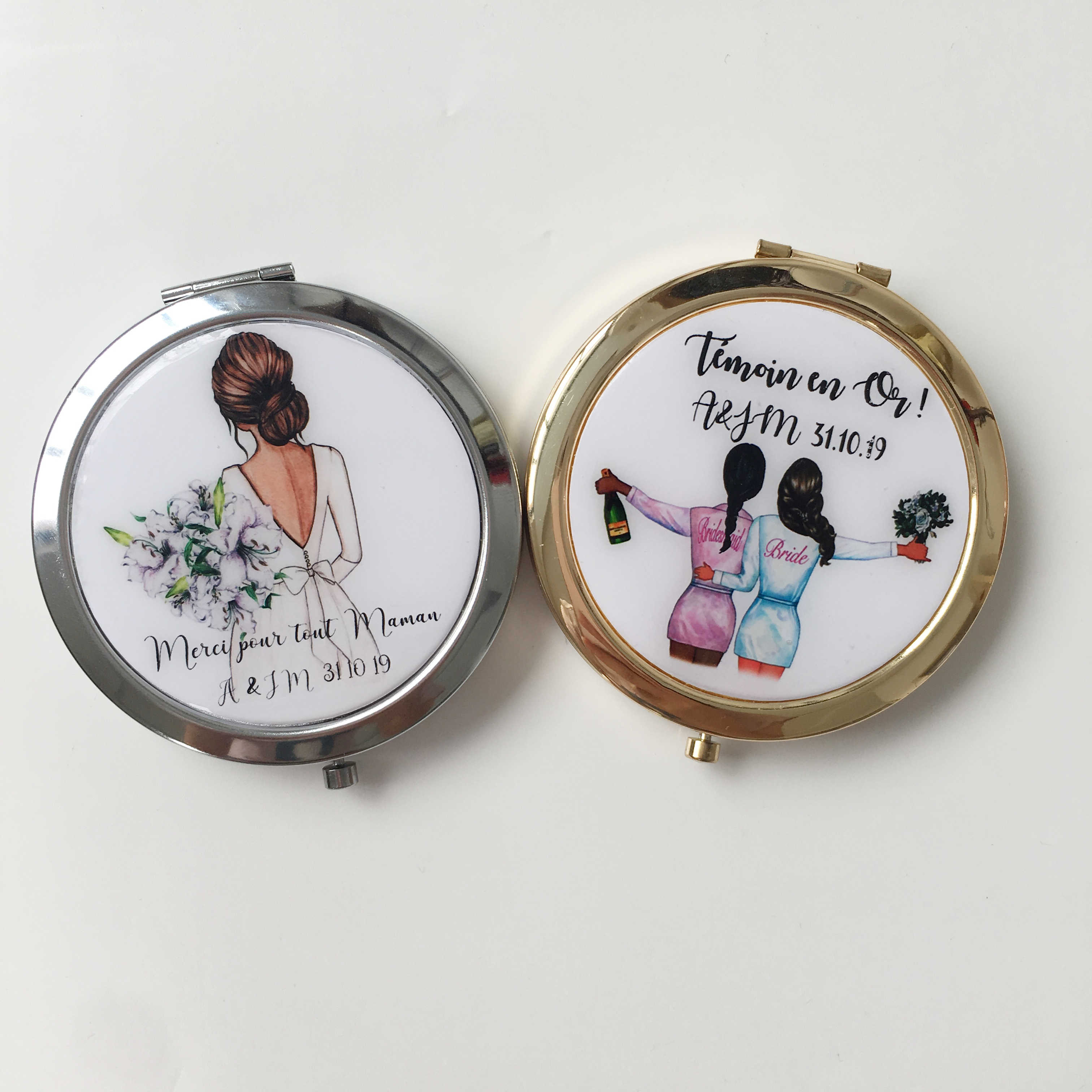 Unique Custom logo birthday Wedding Bride to portable compact mirror Bridesmaid gifts Personalized gift